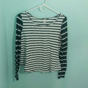 Free People Shirt Striped Black Gray Small